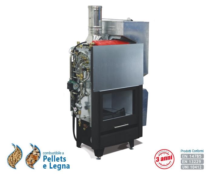 Flexifuel il termocamino idro pellets legna produzione for Termocamino a pellet idro